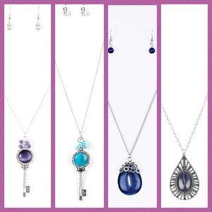 4 pieces moonstone long necklace key paparazzi